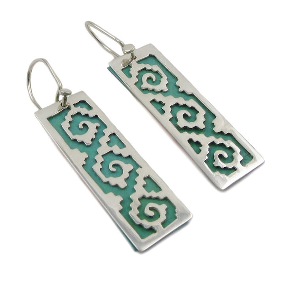 Greek Key 925 Sterling Silver and Copper Guillermo Arregui Earrings