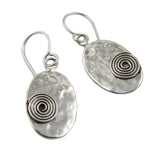 Solid Hammered Spiral Drop 925 Sterling Silver Earrings