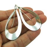 Long Teardrop Hoop 925 Sterling Silver Drop Earrings