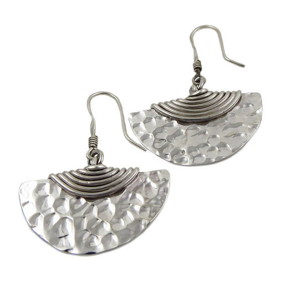Wide Semi Circle 925 Sterling Hammered Silver Earrings