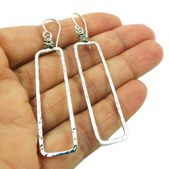 Long Rectangle Drop 925 Hammered Sterling Silver Earrings