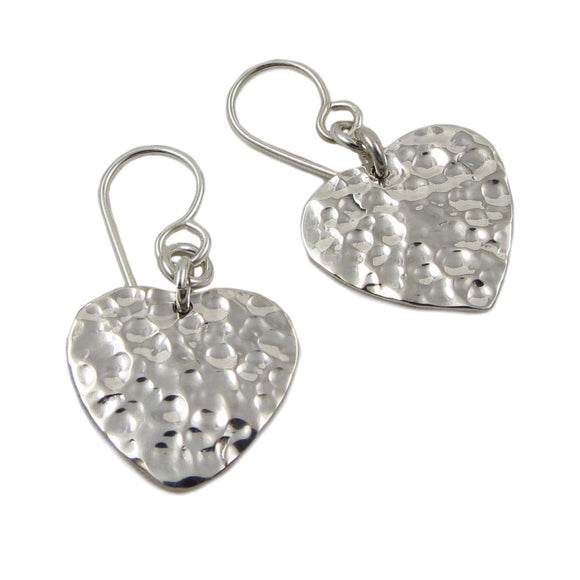 Love Heart 925 Hammered Sterling Silver Earrings