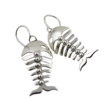Fish Skeleton 925 Sterling Silver Earrings Gift Boxed