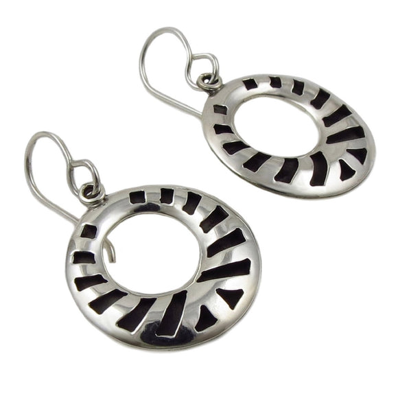 Circle 925 Sterling Silver Shadow Box Earrings