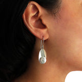 Solid 925 Sterling Silver Hammered and Polished Drop Earrings