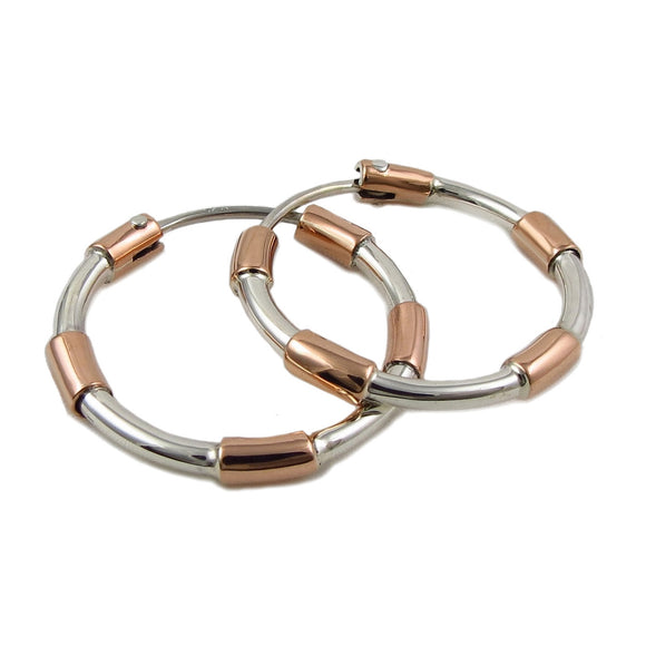 Copper and 925 Silver Circle Hoop Earrings