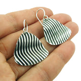 Two Tone Modernist 925 Sterling Silver Drop Earrings