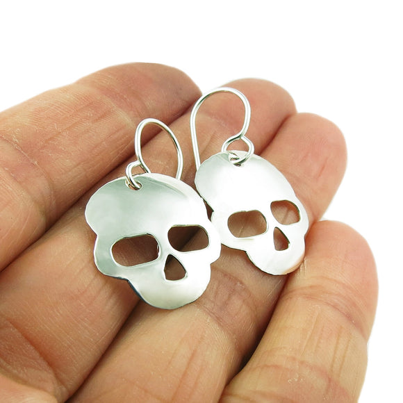Polished Skull 925 Sterling Silver Drop Earrings