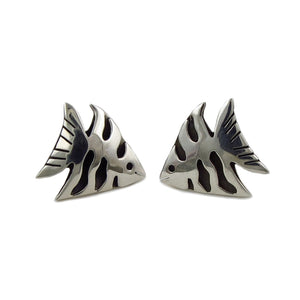 Angelfish 925 Sterling Silver Fish Earrings in a Gift Box