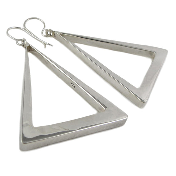 Large 925 Sterling Silver Triangle Hoop Earrings Gift Boxed