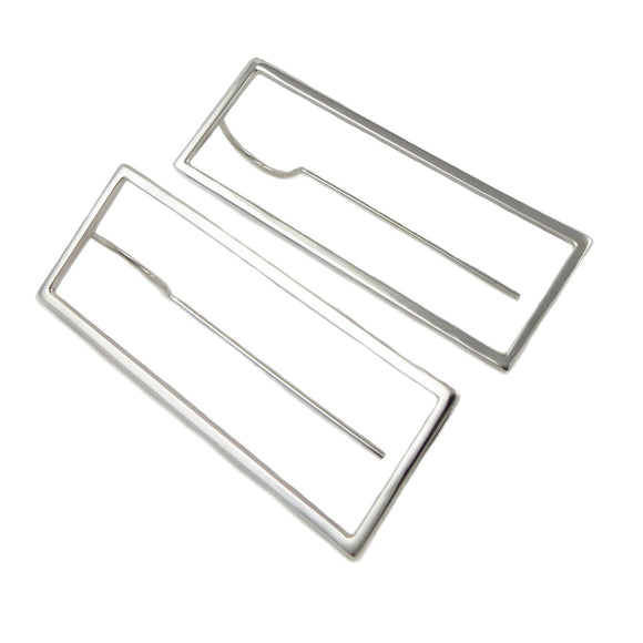 Rectangle 925 Sterling Silver Long Earrings Gift Boxed