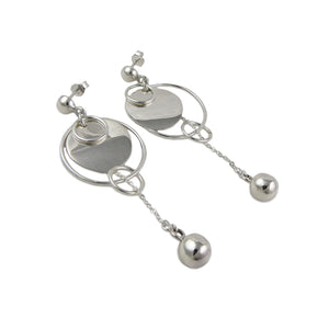 Long Circle 925 Sterling Silver Circle and Chain Drop Earrings