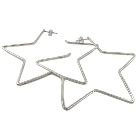 Celestial Star 925 Sterling Silver Large Hoop Earrings