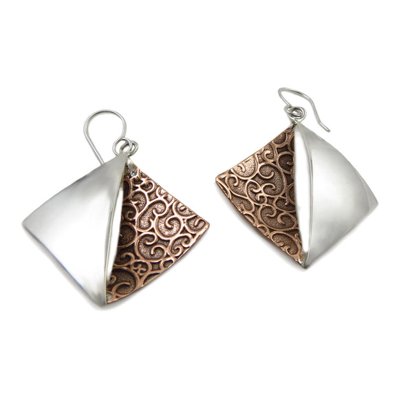 Copper and 925 Silver Square Drop Earrings Gift Boxed
