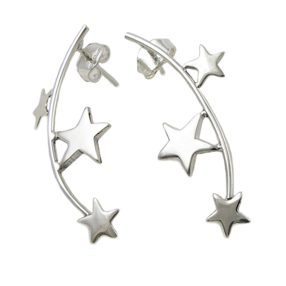 Celestial Stars 925 Sterling Silver Curved Stick Earrings