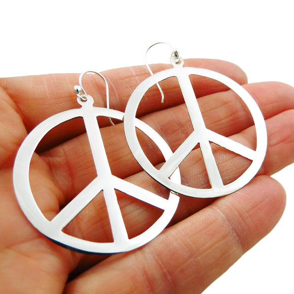 Large 925 Sterling Silver Hoops Peace Sign Earrings