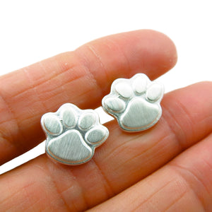 Solid Sterling 925 Silver Animal Lover Dog Cat Paw Print Stud Earrings