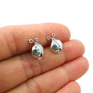 Sterling 925 Silver Beetle Ladybird Bug Earring