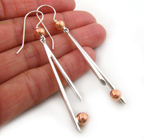 925 Silver and Copper Earrings Long Stick and Ball Bead Design
