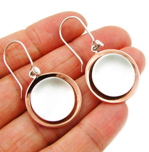 Solid 925 Silver and Copper Circle Earrings Gift Boxed