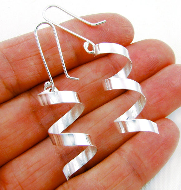 Long Solid 925 Silver Curl Drop Earrings & Box
