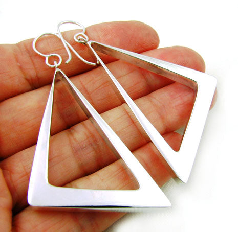 Large 925 Taxco Silver Triangle Hoop Drop Earrings