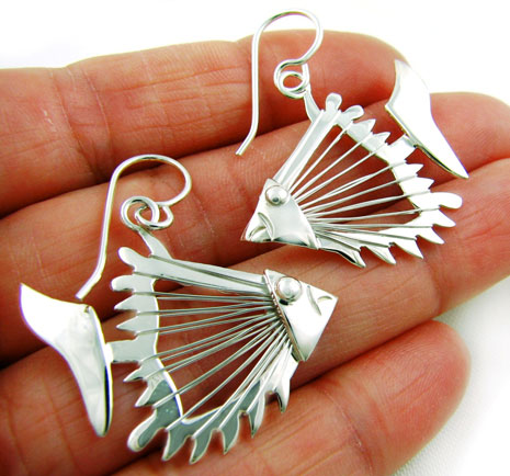 925 Sterling Silver Fish Hand-wrought Drop Earrings in a Gift Pouch