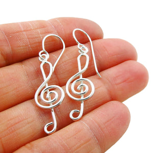 Solid 925 Silver Treble Clef Musical Note Sheet Music Earrings