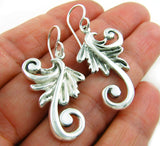 Solid 925 Silver Flower Fern Drop Earrings