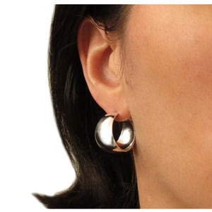 Solid 925 Silver Wide Hoops Drop Earrings