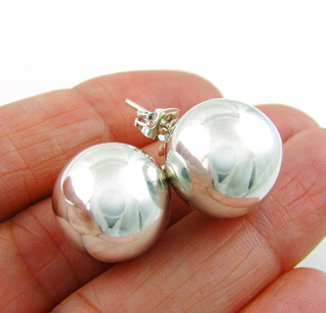 Polished 925 Sterling Silver Ball Bead Earrings