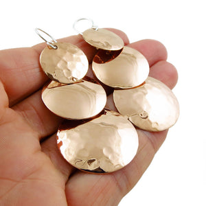Long Solid Copper Triple Circle Drop Earrings