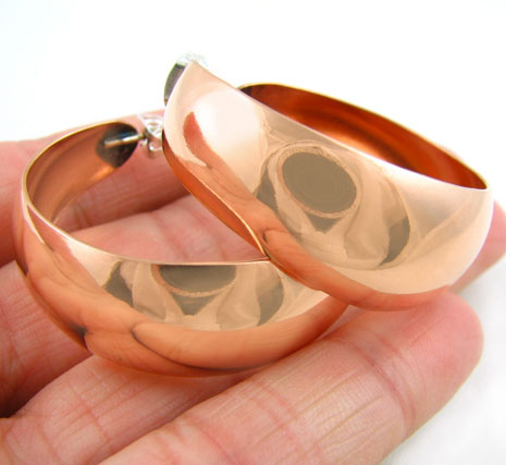 Solid Polished Copper Hoops Circle Hoop Earrings