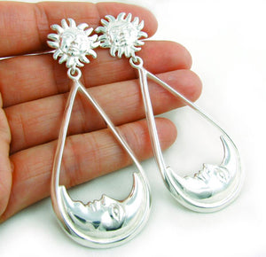 Long Solid 925 Taxco Sterling Silver Sun and Moon Earrings