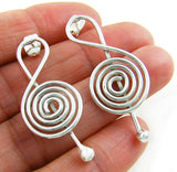 Solid 925 Silver Treble Clef Music Note Drop Earrings