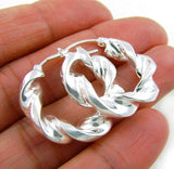 Sterling 925 Silver Twisted Creole Hoops Earrings
