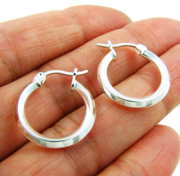 Small 925 Silver Square Edged Hoops Earrings