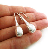 Long Polished Sterling 925 Taxco Silver Tear / Pear Drop Earrings Jewellery Gift