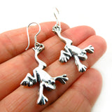 Long 925 Taxco Silver Hanging Pond Frog Drop Earrings Jewellery