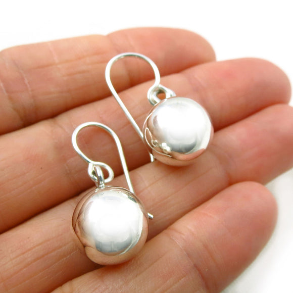 Pretty Polished 925 Silver Ball Bead Drop Earrings