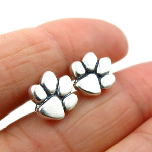 Solid 925 Silver Animal Lover Dog Cat Paw Print Stud Earrings
