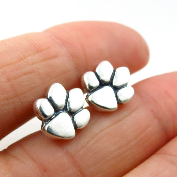 925 Silver Animal Lover Dog Cat Paw Print Stud Earrings