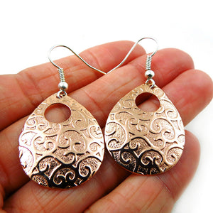 Solid Copper Floral Pattern Oval Drop Earrings