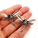 Solid Sterling 925 Taxco Silver Dragonfly Stud Earrings