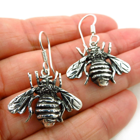Sterling 925 Taxco Silver Bee Drop Earrings