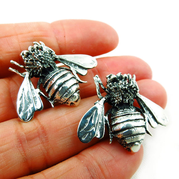 Large Sterling 925 Silver Bee Earrings