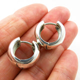 Stylish Sterling 925 Silver Huggie Design Circle Drop Earrings