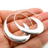 Pretty Sterling 925 Silver Pull Through Threader Circle Drop Earrings