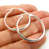Polished Sterling 925 Silver Creole Circle Hoops Earrings
