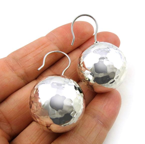 Extra Large 925 Taxco Silver Hammered Ball Bead Drop Earrings Jewellery
